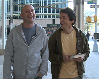 Bestselling authors Nick Hornby, left and Mitch Albom